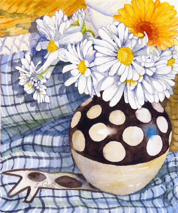 Original art for sale at UGallery.com | Daisies, Dots, Circles by Nancy LaBerge Muren | $525 | watercolor painting | 14' h x 11' w | ..\art\watercolor-painting-Daisies-Dots-Circles