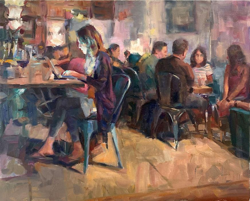 Original art for sale at UGallery.com | Late Night Cafe by Jerry Salinas | $1,200 | oil painting | 16' h x 20' w | ..\art\oil-painting-Late-Night-Cafe