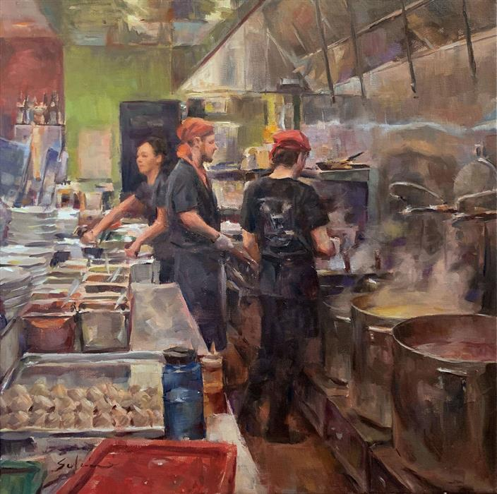 Original art for sale at UGallery.com | Ramen House by Jerry Salinas | $1,350 | oil painting | 20' h x 20' w | ..\art\oil-painting-Ramen-House