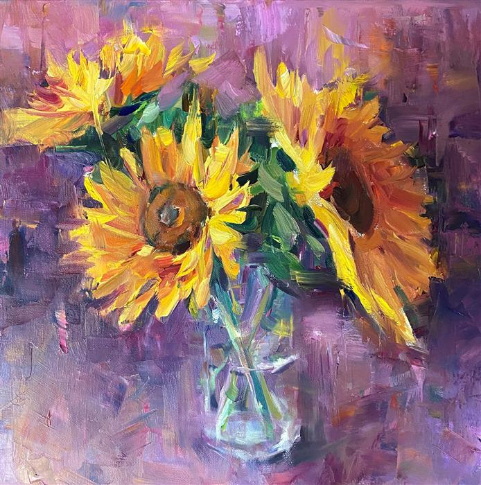 Original art for sale at UGallery.com | Sunflowers by Jerry Salinas | $900 | oil painting | 16' h x 16' w | ..\art\oil-painting-Sunflowers-70094