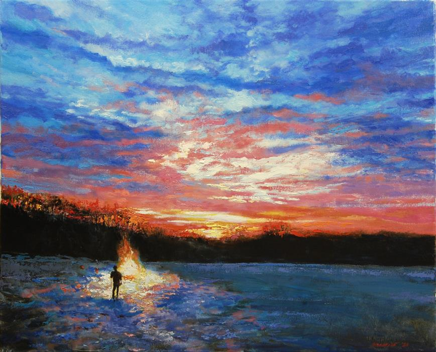 Original art for sale at UGallery.com | Winter Solstice Dawn by Onelio Marrero | $1,075 | oil painting | 20' h x 24' w | ..\art\oil-painting-Winter-Solstice-Dawn