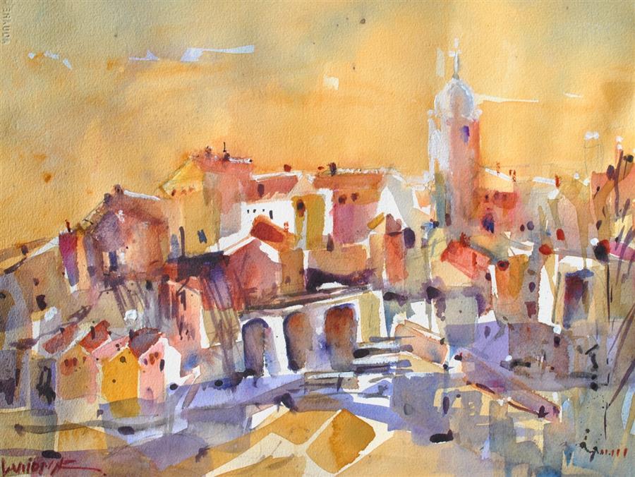Original art for sale at UGallery.com | Albarracin Medieval Village by Lanie Widmar | $450 | watercolor painting | 12.5' h x 16.5' w | ..\art\watercolor-painting-Albarracin-Medieval-Village