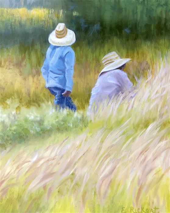 Original art for sale at UGallery.com | Men at Work by Elizabeth Rickert | $700 | oil painting | 10' h x 8' w | ..\art\oil-painting-Men-at-Work