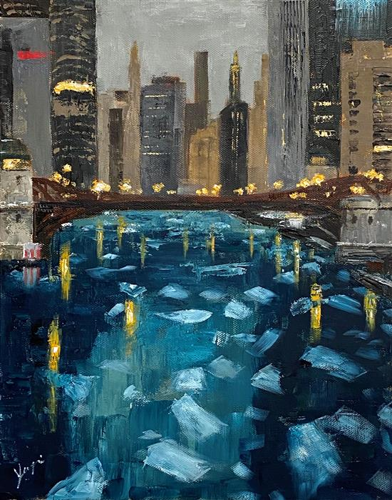 Original art for sale at UGallery.com | Icy River by Yangzi Xu | $475 | oil painting | 14' h x 11' w | ..\art\oil-painting-Icy-River