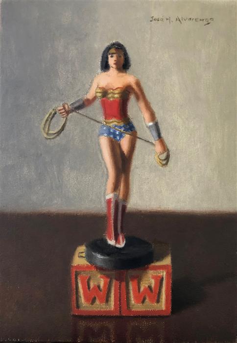 Original art for sale at UGallery.com | Wonder Woman by Jose H. Alvarenga | $350 | oil painting | 7' h x 5' w | ..\art\oil-painting-Wonder-Woman