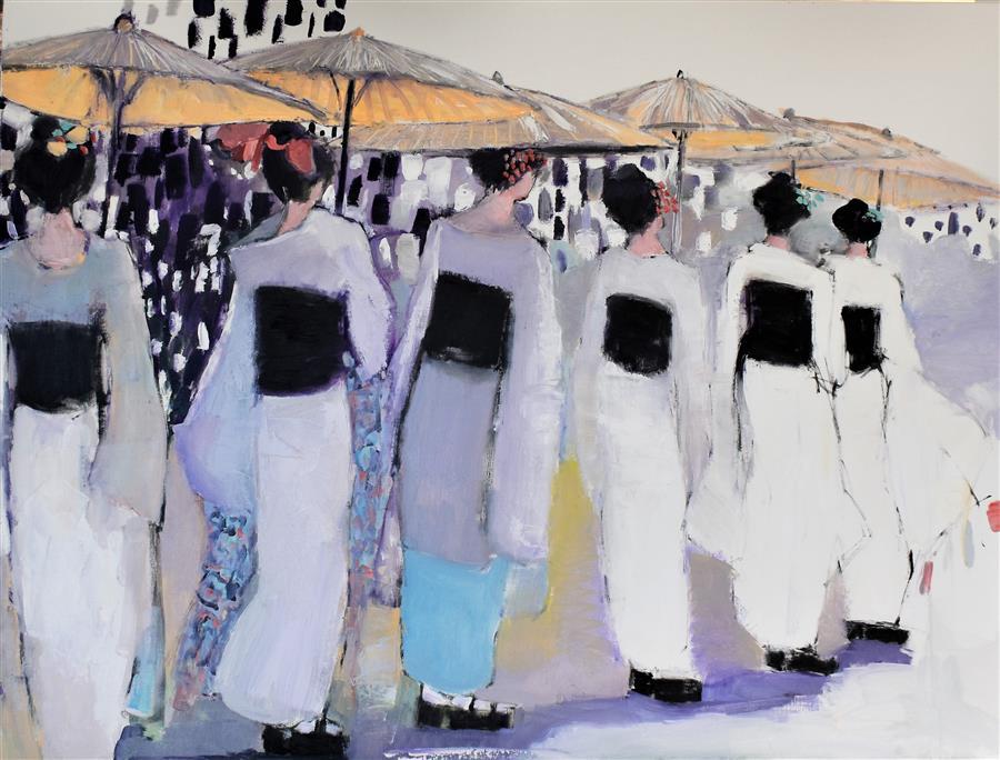Original art for sale at UGallery.com | Sashaying Geishas by Mary Pratt | $2,675 | oil painting | 30' h x 40' w | ..\art\oil-painting-Sashaying-Geishas