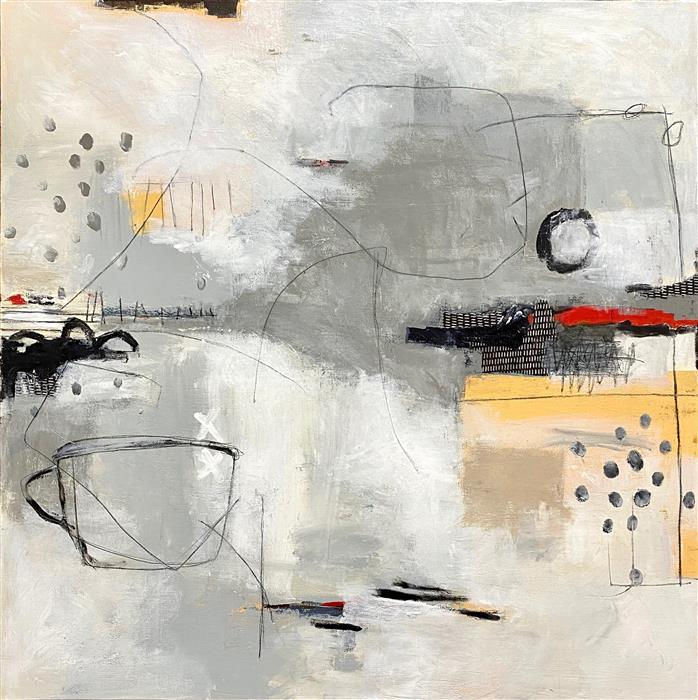 Original art for sale at UGallery.com | Winter Morning by Shellie Garber | $1,900 | mixed media artwork | 36' h x 36' w | ..\art\mixed-media-artwork-Winter-Morning