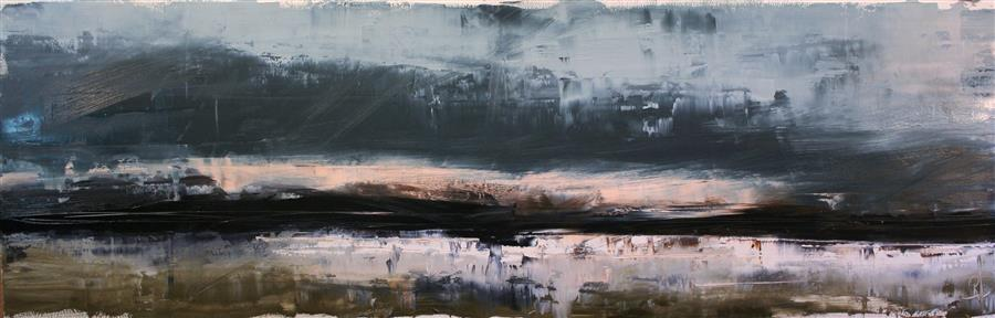 Original art for sale at UGallery.com | Undertones in Nature by Ronda Waiksnis | $1,275 | oil painting | 15.5' h x 47' w | ..\art\oil-painting-Undertones-in-Nature