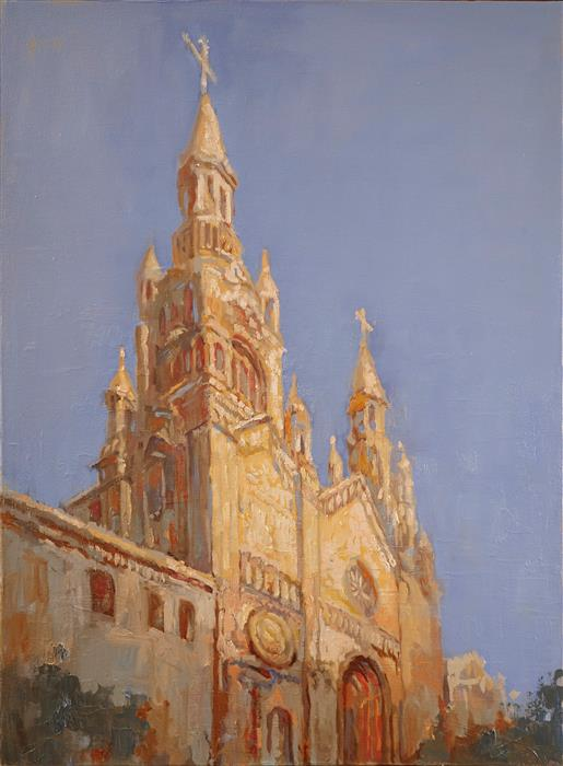 Original art for sale at UGallery.com | St. Peter and Paul Cathedral 1 by Yuvak Tuladhar | $1,700 | oil painting | 32' h x 24' w | ..\art\oil-painting-St-Peter-and-Paul-Cathedral-1