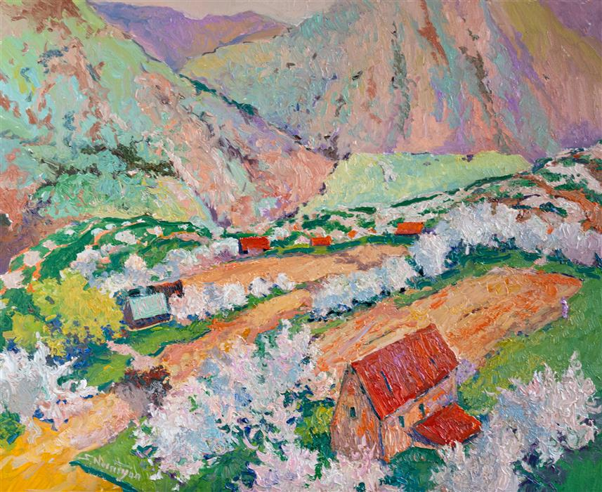 Original art for sale at UGallery.com | Spring in the Mountains, Tree Blossom by Suren Nersisyan | $1,200 | oil painting | 24' h x 30' w | ..\art\oil-painting-Spring-in-the-Mountains-Tree-Blossom