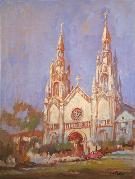 Original art for sale at UGallery.com | St. Peter and Paul Cathedral 2 by Yuvak Tuladhar | $1,350 | oil painting | 32' h x 24' w | ..\art\oil-painting-St-Peter-and-Paul-Cathedral-2
