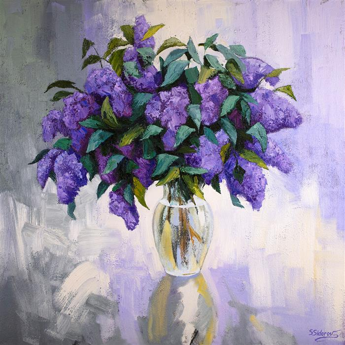 Original art for sale at UGallery.com | Lilac Bouquet by Stanislav Sidorov | $2,100 | oil painting | 36' h x 36' w | ..\art\oil-painting-Lilac-Bouquet