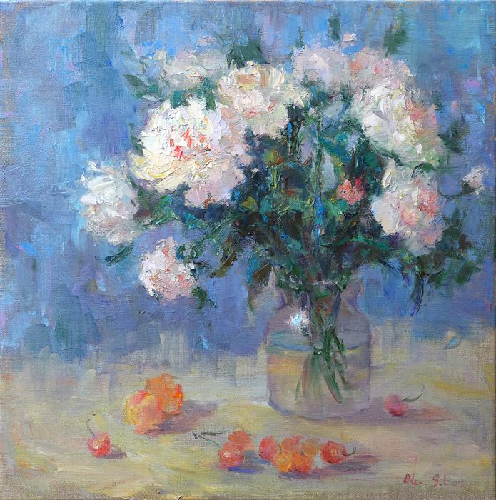 Original art for sale at UGallery.com | Peonies and Cherries by Oksana Johnson | $1,450 | oil painting | 20' h x 20' w | ..\art\oil-painting-Peonies-and-Cherries