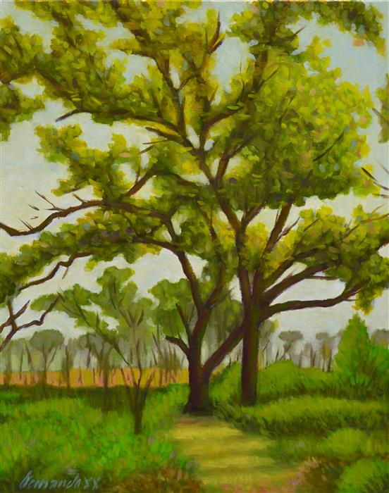 Original art for sale at UGallery.com | Shady Spot by Fernando Soler | $625 | oil painting | 20' h x 16' w | ..\art\oil-painting-Shady-Spot-70182