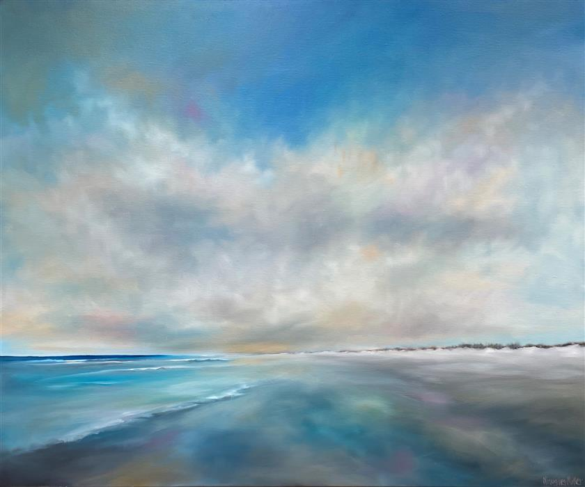 Original art for sale at UGallery.com | Beach Solitude by Nancy Hughes Miller | $2,000 | oil painting | 30' h x 36' w | ..\art\oil-painting-Beach-Solitude