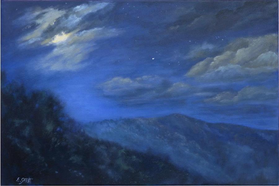 Original art for sale at UGallery.com | Quiet Breathes This Night by Elizabeth Garat | $1,425 | oil painting | 20' h x 30' w | ..\art\oil-painting-Quiet-Breathes-This-Night