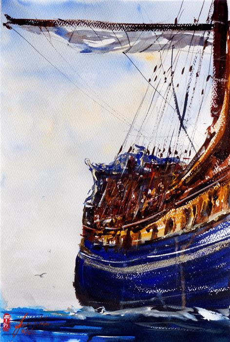 Original art for sale at UGallery.com | Cruiser by James Nyika | $600 | watercolor painting | 22' h x 15' w | ..\art\watercolor-painting-Cruiser