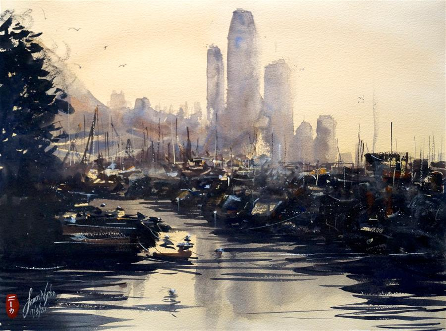 Original art for sale at UGallery.com | Hong Kong Skyline by James Nyika | $600 | watercolor painting | 18' h x 24' w | ..\art\watercolor-painting-Hong-Kong-Skyline