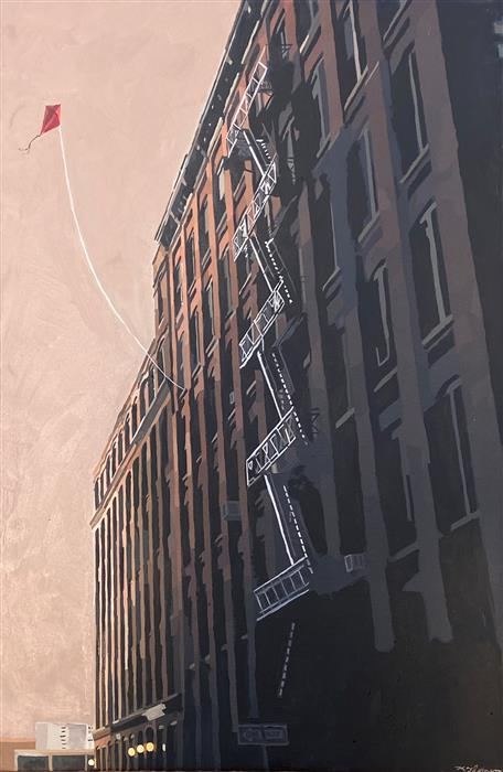 Original art for sale at UGallery.com | Brooklyn Heights by Keith Thomson | $1,900 | mixed media artwork | 36' h x 24' w | ..\art\mixed-media-artwork-Brooklyn-Heights
