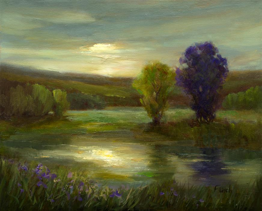Original art for sale at UGallery.com | Moonlit Glow by Sheila Finch | $700 | oil painting | 8' h x 10' w | ..\art\oil-painting-Moonlit-Glow