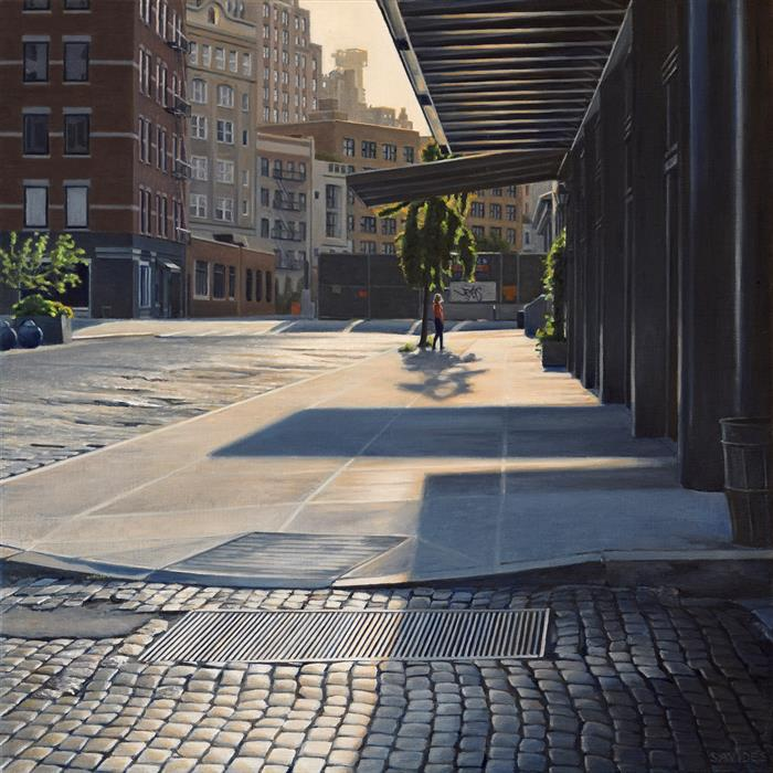 Original art for sale at UGallery.com | Morning on Gansevoort by Nick Savides | $2,850 | oil painting | 24' h x 24' w | ..\art\oil-painting-Morning-on-Gansevoort