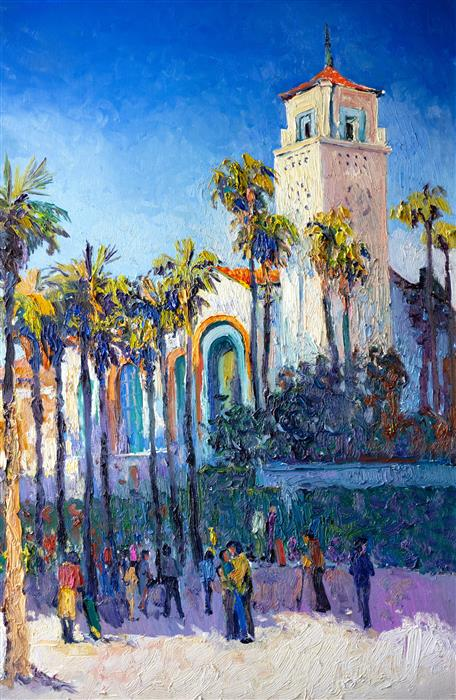 Original art for sale at UGallery.com | Union Station in Los Angeles, Sunny Day by Suren Nersisyan | $1,600 | oil painting | 36' h x 24' w | ..\art\oil-painting-Union-Station-in-Los-Angeles-Sunny-Day-70203