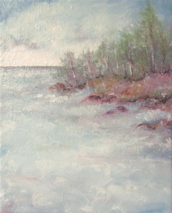 Original art for sale at UGallery.com | Up North Dreamscape by Valerie Berkely | $325 | oil painting | 14' h x 11' w | ..\art\oil-painting-Up-North-Dreamscape