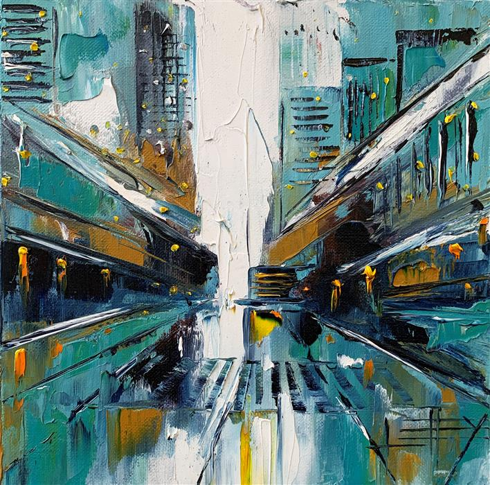 Original art for sale at UGallery.com | San Francisco Abstraction by Lisa Elley | $425 | oil painting | 10' h x 10' w | ..\art\oil-painting-San-Francisco-Abstraction