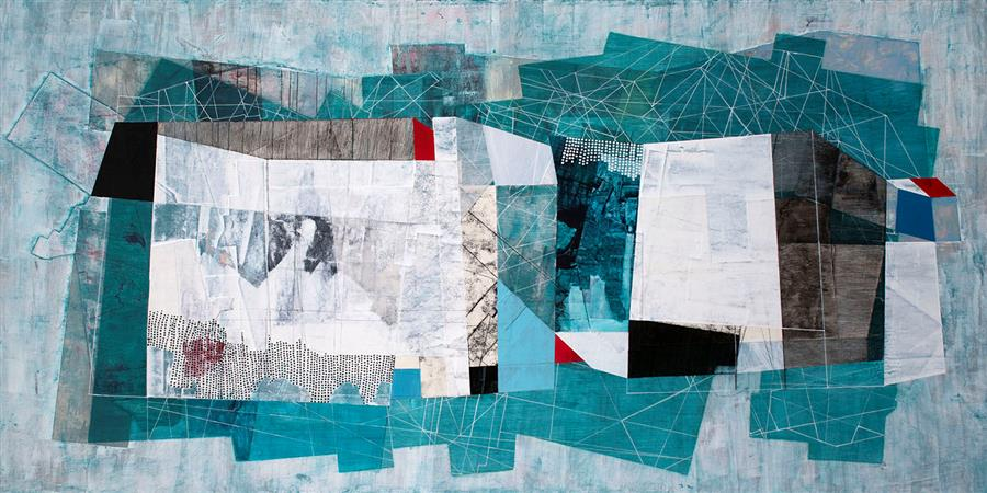 Original art for sale at UGallery.com | Shuttled between Shared Tolerance by Linnie Brown | $2,800 | mixed media artwork | 24' h x 48' w | ..\art\mixed-media-artwork-Shuttled-between-Shared-Tolerance