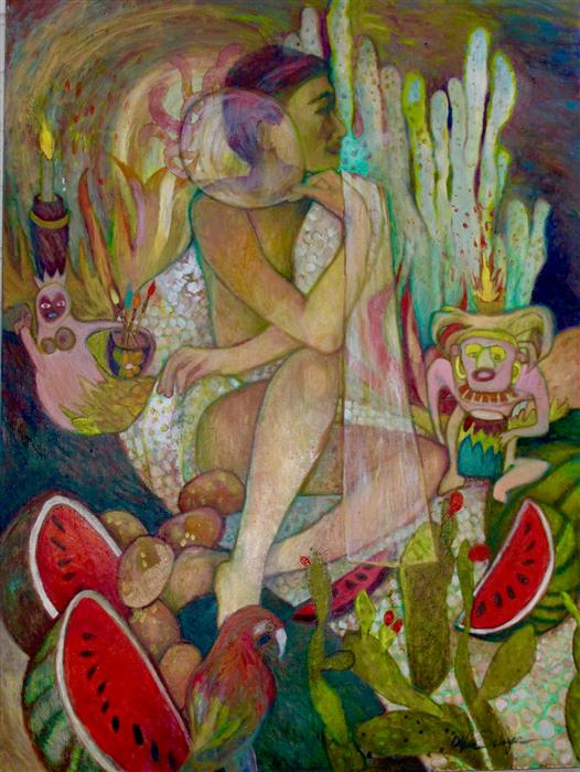 Original art for sale at UGallery.com | Ceremony #2 by Dixie Salazar | $2,675 | oil painting | 40' h x 30' w | ..\art\oil-painting-Ceremony-2
