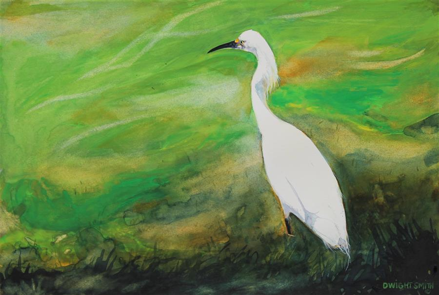 Original art for sale at UGallery.com | Patiently by Dwight Smith | $375 | watercolor painting | 6.5' h x 9.5' w | ..\art\watercolor-painting-Patiently