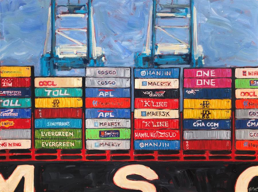 Original art for sale at UGallery.com | Container Ship 1 by Elliot Coatney | $2,400 | acrylic painting | 36' h x 48' w | ..\art\acrylic-painting-Container-Ship-1