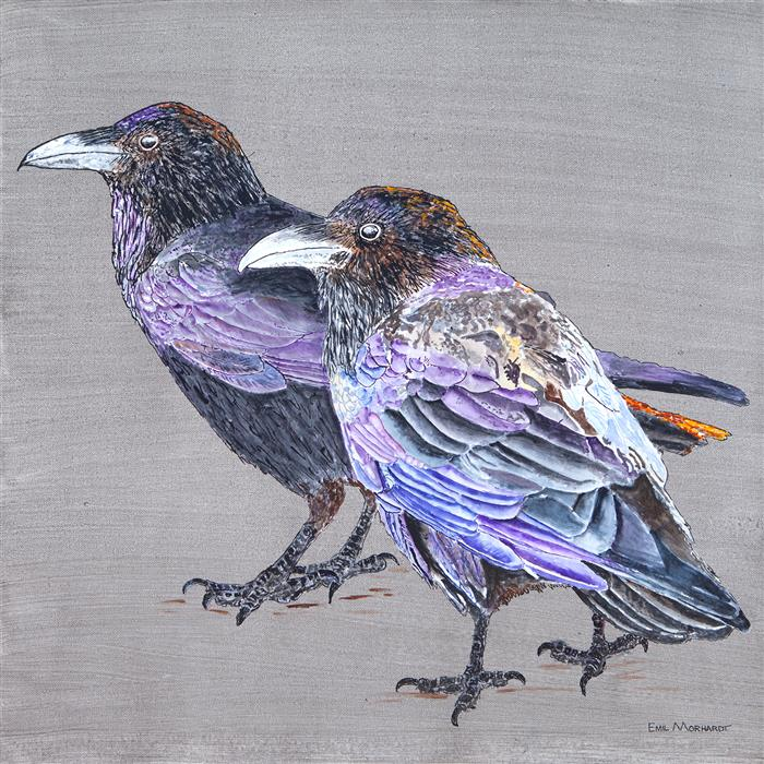 Original art for sale at UGallery.com | Raven Couple by Emil Morhardt | $1,550 | acrylic painting | 24' h x 24' w | ..\art\acrylic-painting-Raven-Couple