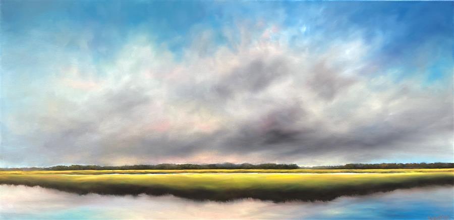Original art for sale at UGallery.com | Quiet Sky Marsh by Nancy Hughes Miller | $1,775 | oil painting | 20' h x 40' w | ..\art\oil-painting-Quiet-Sky-Marsh
