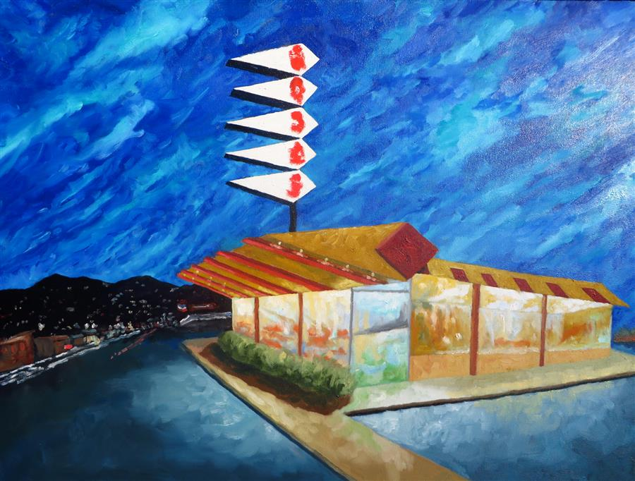 Original art for sale at UGallery.com | Norms by Mitchell Freifeld | $1,100 | oil painting | 25' h x 35' w | ..\art\oil-painting-Norms