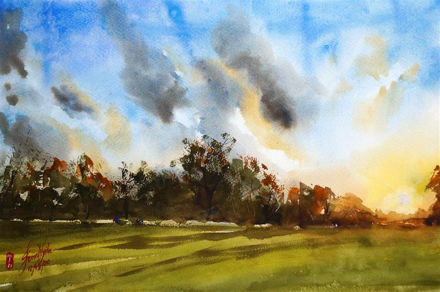 Original art for sale at UGallery.com | Fairwood Park Sunset by James Nyika | $600 | watercolor painting | 15' h x 22' w | ..\art\watercolor-painting-Fairwood-Park-Sunset