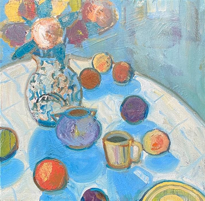 Original art for sale at UGallery.com | Still Life in Blue by James Hartman | $1,150 | oil painting | 22.5' h x 22.5' w | ..\art\oil-painting-Still-Life-in-Blue