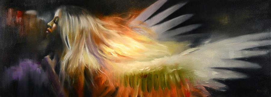 Original art for sale at UGallery.com | The Phoenix by Gary Leonard | $3,800 | oil painting | 22' h x 60' w | ..\art\oil-painting-The-Phoenix-70287