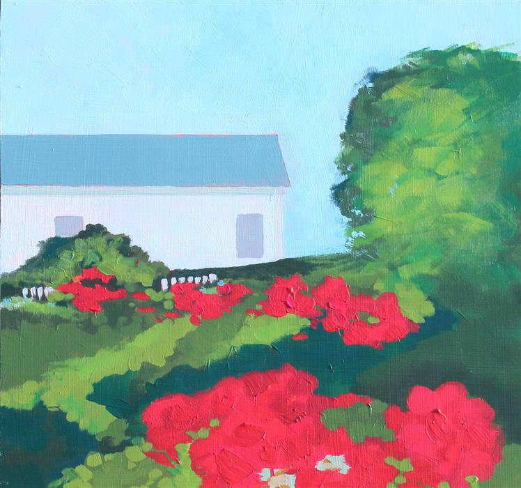 Original art for sale at UGallery.com | Rose Garden on the Cape by Ruth LaGue | $475 | acrylic painting | 12' h x 12' w | ..\art\acrylic-painting-Rose-Garden-on-the-Cape