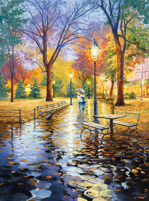 Original art for sale at UGallery.com | Serene Evening Stroll, Central Park, New York by Stanislav Sidorov | $4,675 | oil painting | 40' h x 30' w | ..\art\oil-painting-Serene-Evening-Stroll-Central-Park-New-York