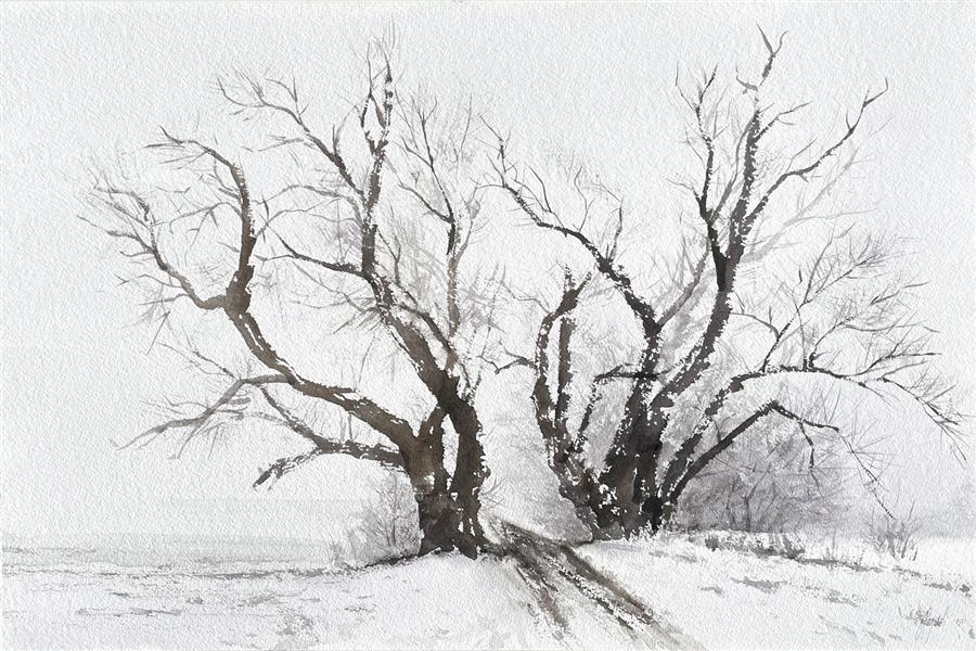 Original art for sale at UGallery.com | Poplars in Winter by Jill Poyerd | $1,500 | watercolor painting | 16' h x 24' w | ..\art\watercolor-painting-Poplars-in-Winter