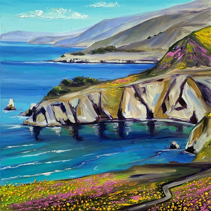 Original art for sale at UGallery.com | Spring in Big Sur by Lisa Elley | $950 | oil painting | 24' h x 24' w | ..\art\oil-painting-Spring-in-Big-Sur