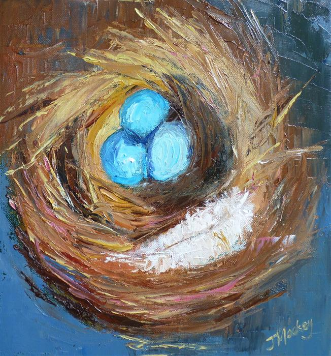 Original art for sale at UGallery.com | A Nest and a Feather by Judy Mackey | $675 | oil painting | 12' h x 12' w | ..\art\oil-painting-A-Nest-and-a-Feather
