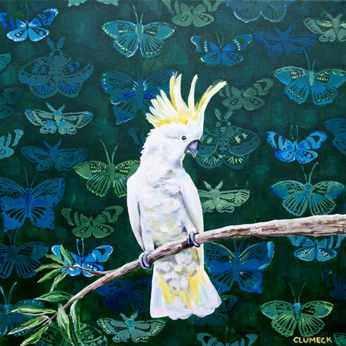 Original art for sale at UGallery.com | Yellow Crested Cockatoo by Alana Clumeck | $700 | acrylic painting | 20' h x 20' w | ..\art\acrylic-painting-Yellow-Crested-Cockatoo