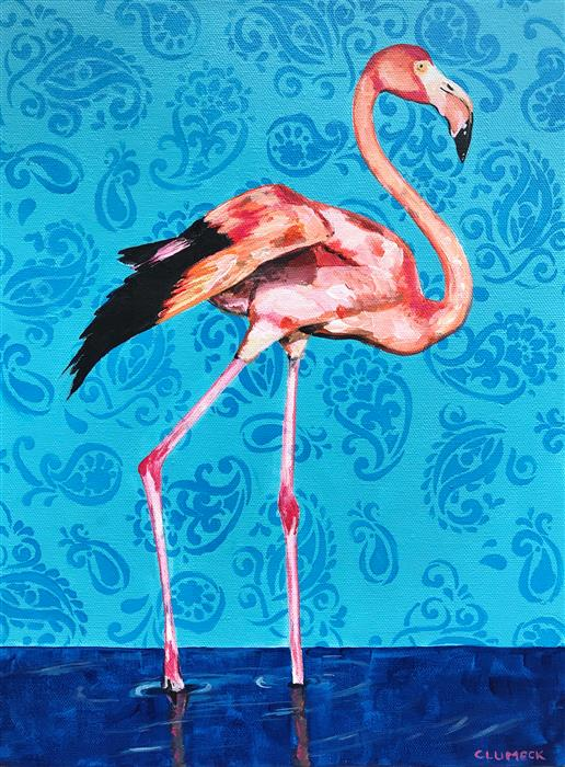 Original art for sale at UGallery.com | Flamingo by Alana Clumeck | $375 | acrylic painting | 16' h x 12' w | ..\art\acrylic-painting-Flamingo-70327