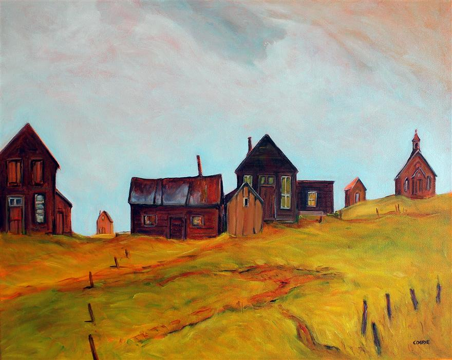 Original art for sale at UGallery.com | Bodie, Silent Sentinels by Doug Cosbie | $475 | oil painting | 16' h x 20' w | ..\art\oil-painting-Bodie-Silent-Sentinels