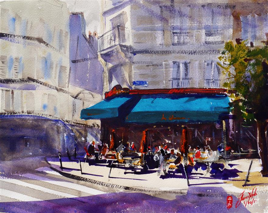 Original art for sale at UGallery.com | Cafe Le Chinon by James Nyika | $600 | watercolor painting | 16' h x 20' w | ..\art\watercolor-painting-Cafe-Le-Chinon