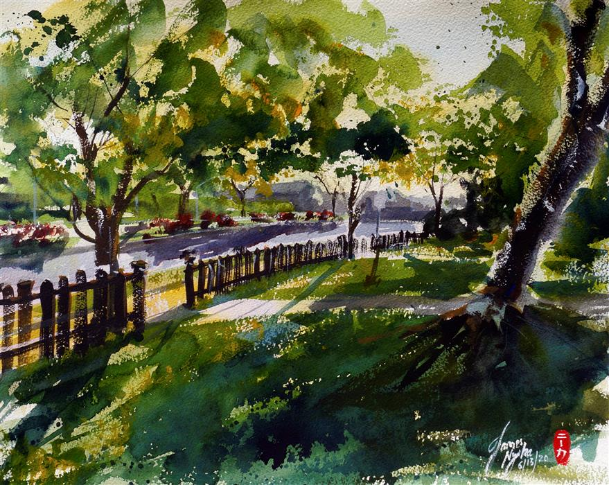 Original art for sale at UGallery.com | Neighborhood Morning by James Nyika | $600 | watercolor painting | 16' h x 20' w | ..\art\watercolor-painting-Neighborhood-Morning