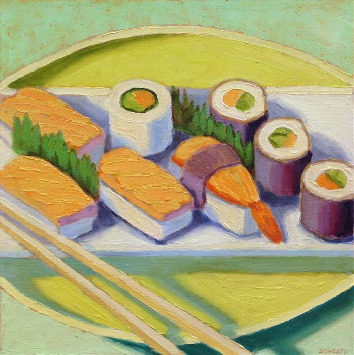 Original art for sale at UGallery.com | Sushi Plate by Pat Doherty | $650 | oil painting | 12' h x 12' w | ..\art\oil-painting-Sushi-Plate