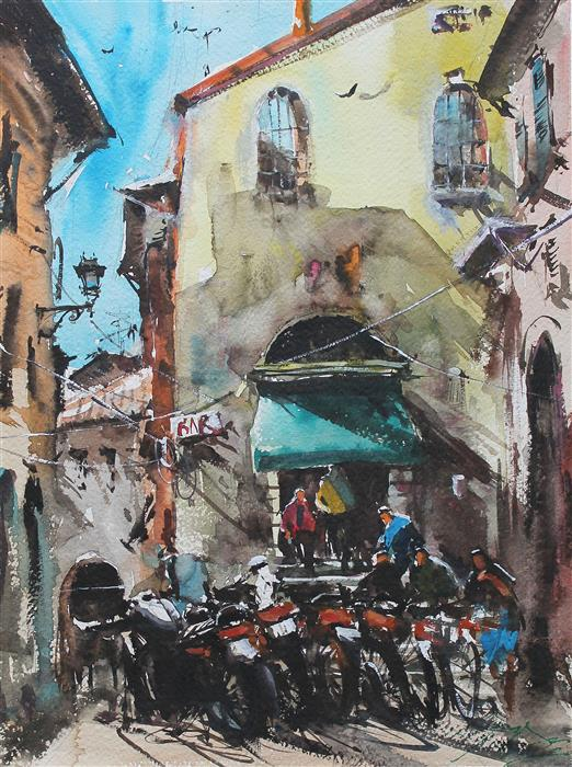 Original art for sale at UGallery.com | Plein Air in Spoleto by Maximilian Damico | $700 | watercolor painting | 15' h x 11' w | ..\art\watercolor-painting-Plein-Air-in-Spoleto